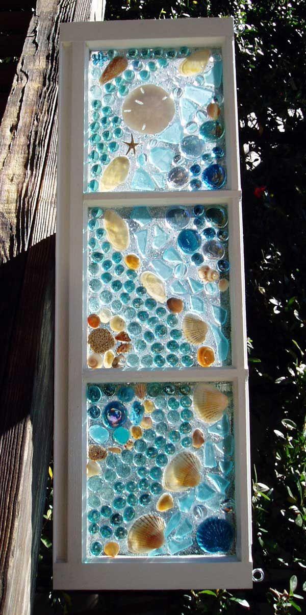 This Garden Glass Window is called 'Mosaic Shells Aqua'.