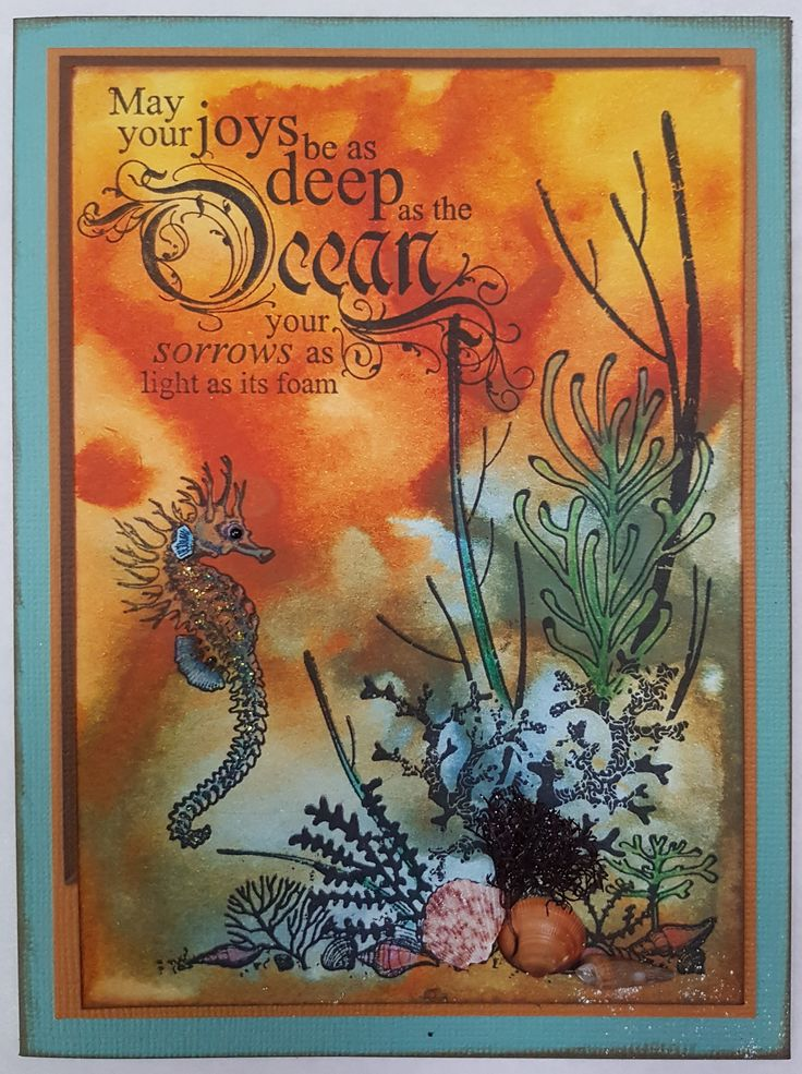 Deep as the Ocean 4880E by Stamp-it; Seahorse E1504 by PSX; Coastal Escape CS250 by Kaisercraft. Card by Susan of Art Attic Studio