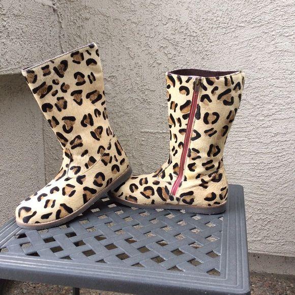 Mini Boden Quot Leo Quot Leopard Print Calf Hair Boots Quality