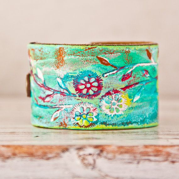 Leather Buckle Bracelet Wristbands Cuffs Turquoise Hippie ...