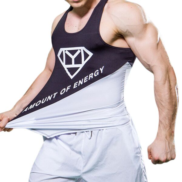 Sale 30% (11.58$) - PRO Men\'s Elasticity Close Fitting Gym Vest Sports Running Quick Drying Sleeveless Tops Tees