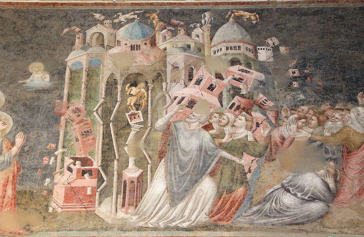Pietro da rimini, crollo di efeso e martirio di s. giovanni nell'olio bollente, xiv sec. Chiesa S. Agostino.
