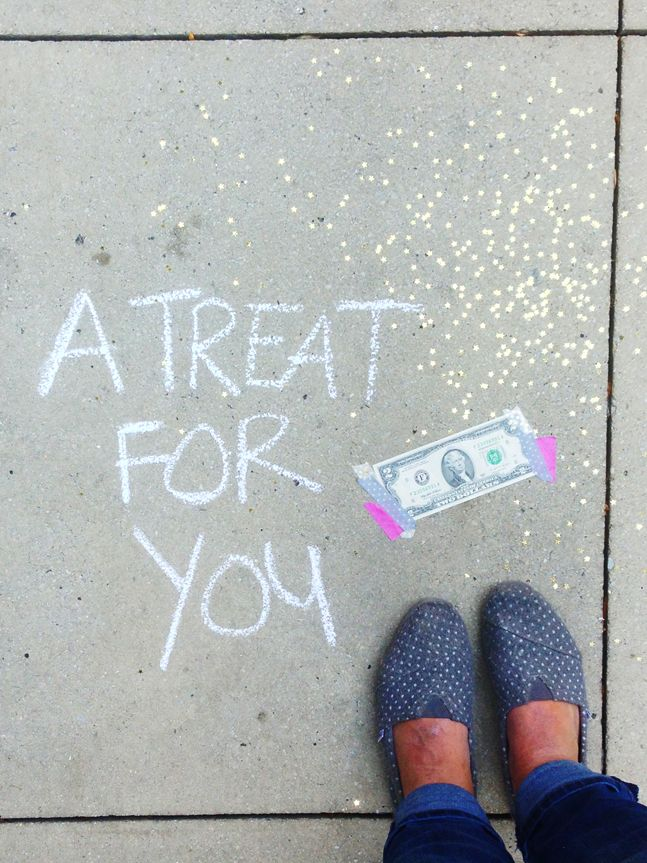 this girl and her friend went around the city taping $2 bills on the sidewalk and leaving a note and confetti for anyone to take.