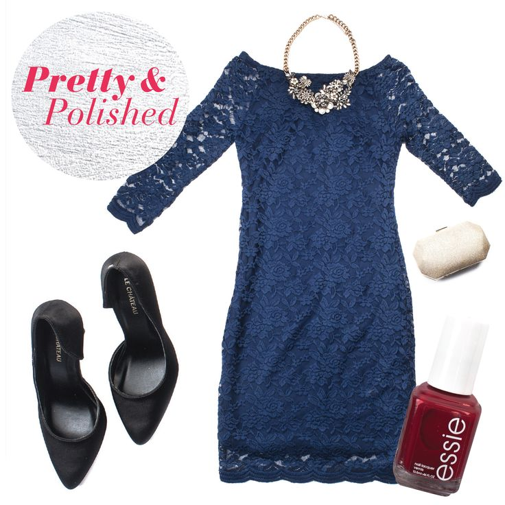 This stunning navy lace dress, black pair of heels, red nail polish, & clutch will turn heads at any #holidayparty!