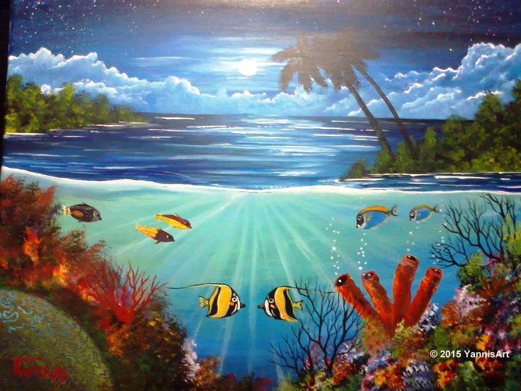 Coral Reef - Acrylic on Canvas http://yannisart.webnode.com/