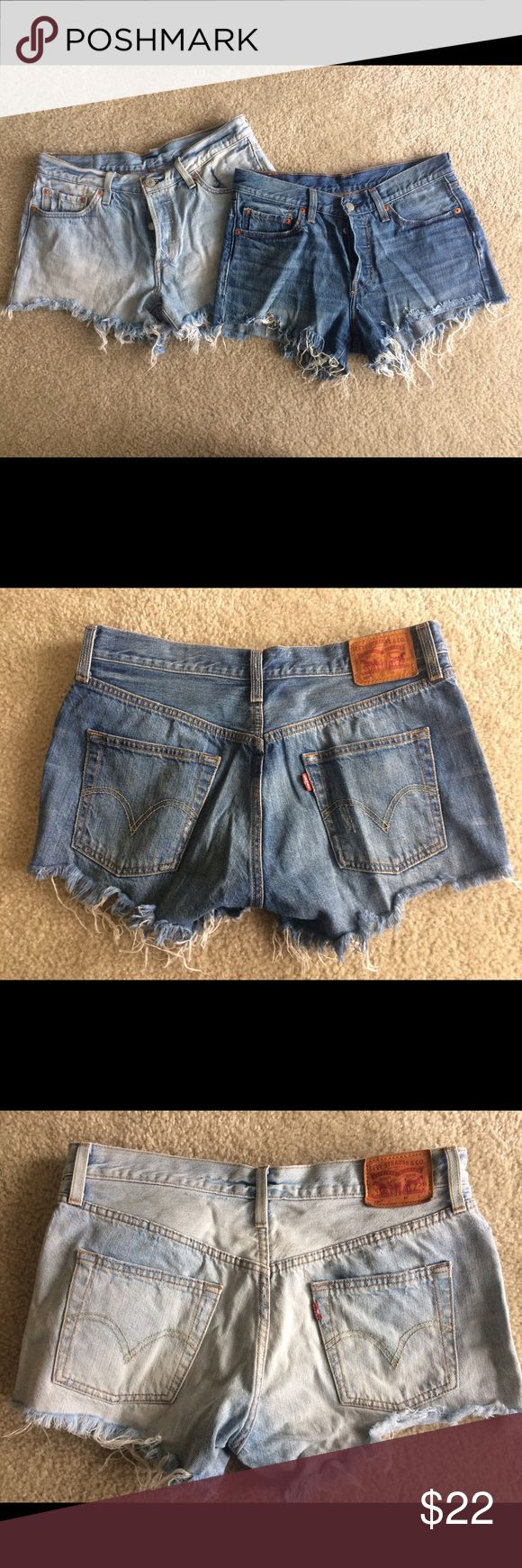 Levi's 501 cutoff jean shorts size 28, LOT of 2 Two pairs of gently used Levi shorts, high waist and button fly closure. Great for summer! Levi's Shorts Jean Shorts
