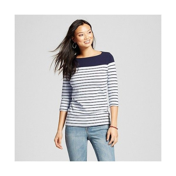 Women's Striped Boatneck Tee Navy/Bauble Blue Stripe ($12) ❤ liked on Polyvore featuring tops, t-shirts, blue t shirt, crew t shirts, boat neck t shirt, white crew neck shirt and white stripes t shirt