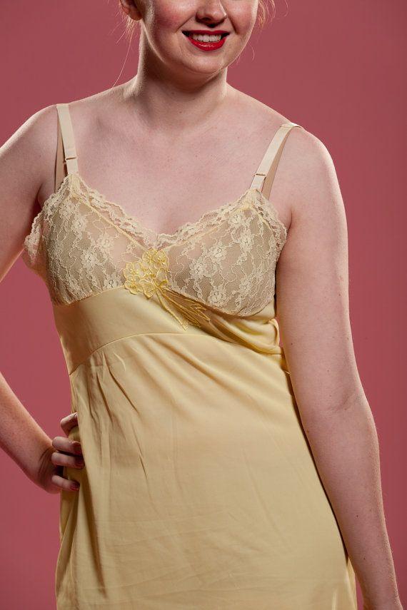 Vintage 1950s Yellow Full Slip 42 00 Vintage Slip
