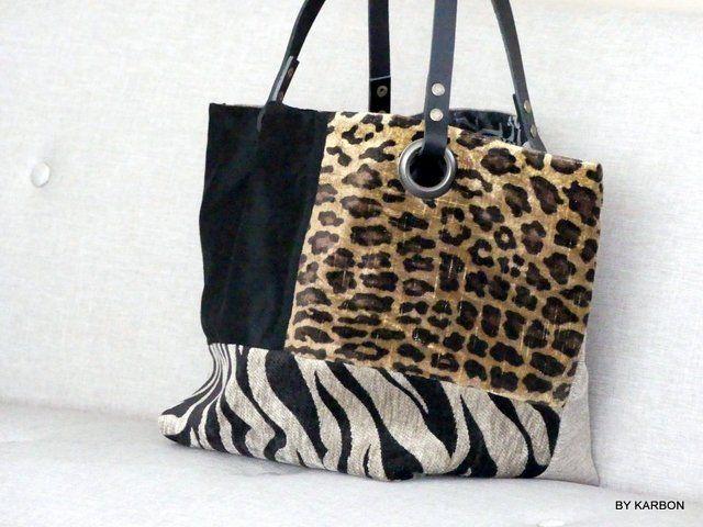 Sac Cabas Noir Avec Etoile Velours Leopard Et Zebre Jean Etsy In 2020 Bags Tote Bag Tote