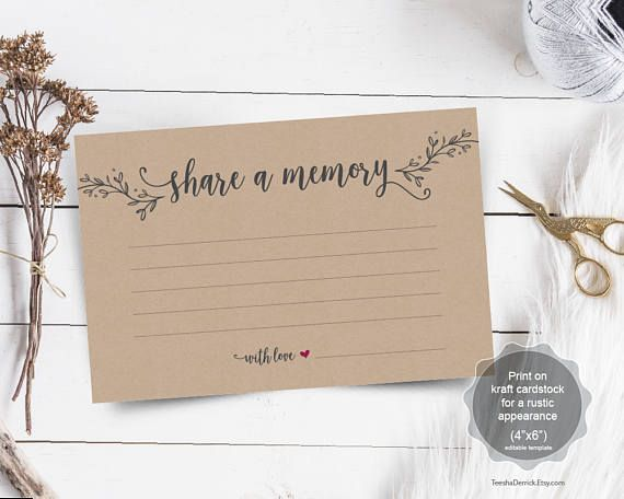 Share a Memory Card Instant download editable PDF template