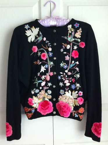 Vintage 1950's HELEN BOND CARRUTHERS Embroidered Cashmere Cardigan Sweater