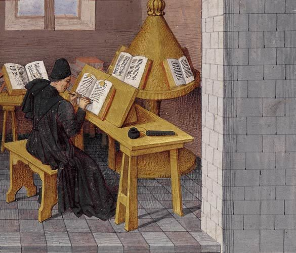 "A Trestle Festival: Trestle tables at Lost Art Press as part of their ""Furniture of Necessity"" series: The author Titus Livius (or the translator Pierre Bersuire) at work, Ab urbe condita (BNF Fr. 273, fol. 7), c. 1475"