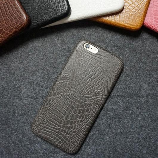 Black Leather Crocodile Snake Case for iPhone 6 and Up