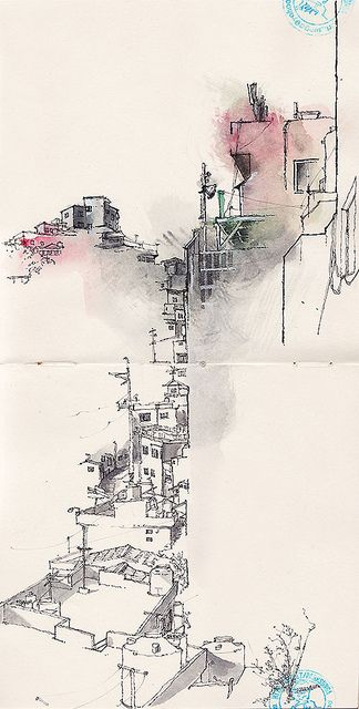 """""""Gamcheon cultural village, busan"""", Park Sunga, 2013, Een simpele schets met veel loze ruimte en gelimiteerd kleurgebruik, maar toch heel duidelijk is in wat het nou eigenlijk is."""