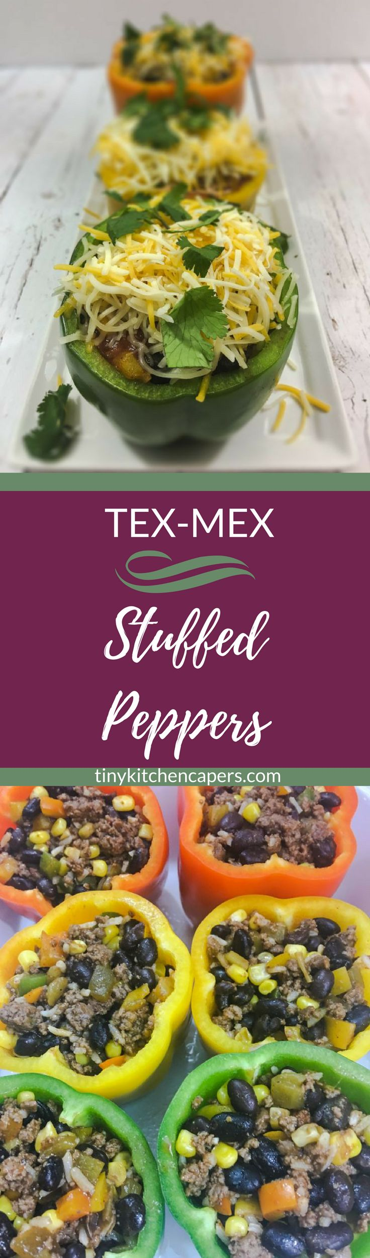 A Tex-Mex twist on stuffed peppers. Beef, black beans, corn, rice. Spiced up with green chilis, chipotle, and enchilada sauce. Oh, and lots of cheese | tinykitchencapers.com