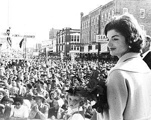 October 1959: Jackie Kennedy looking out on the scene at the Int'l Rice Festival in Crowley, LA, where JFK addressed a crowd of more than 130,000. Edmund Reggie archive.
