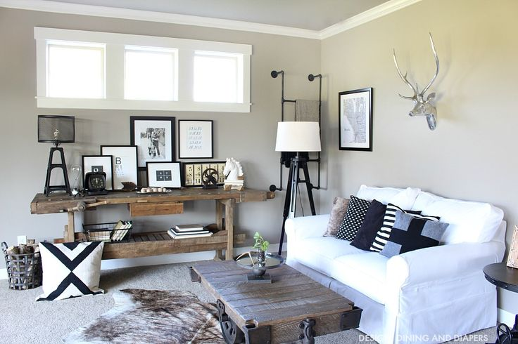 Black and White Industrial Family Room