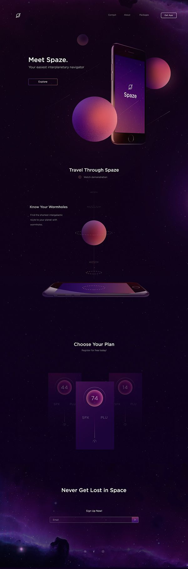 Landing Page for space travel application