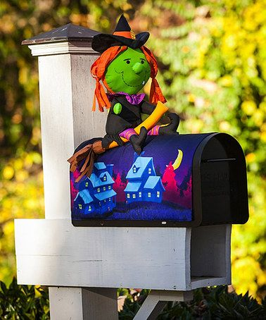 Another great find on #zulily! Witch on the Broom Magnetic Mailbox Cover #zulilyfinds
