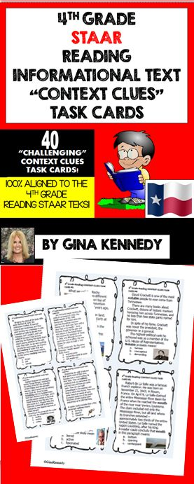 """4TH GRADE READING """"CONTEXT CLUES"""" INFORMATIONAL TEXT TASK CARDS ALIGNED TO THE…"""