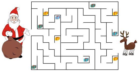 Printable Santa maze for kids