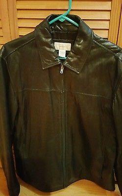 Merona Black Men's Leather Medium Jacket.