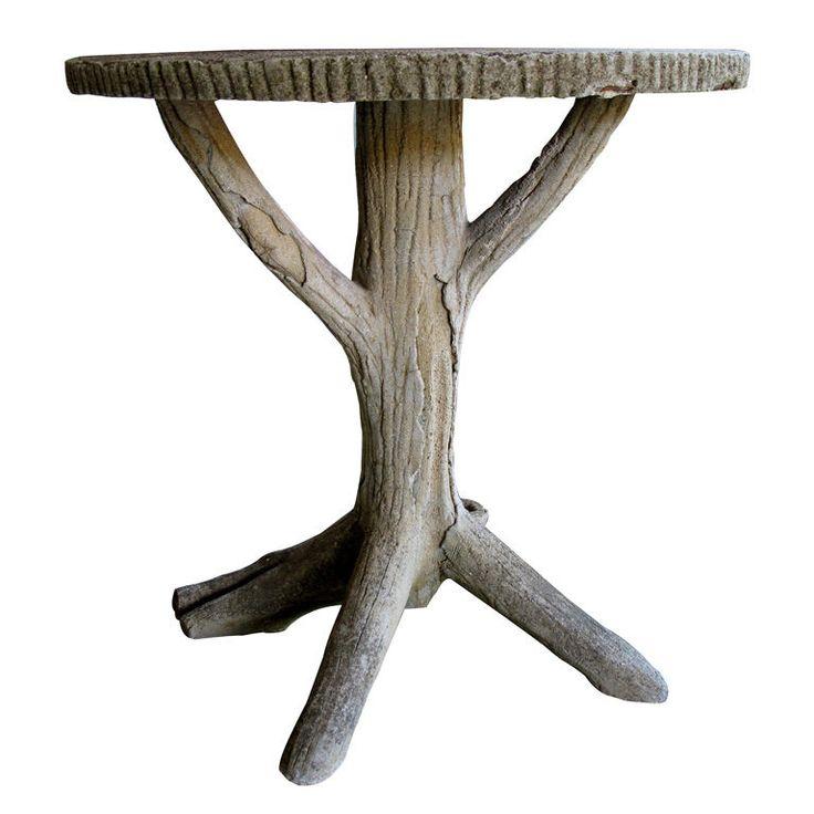 A Fanciful French Faux Bois Concrete Circular Tripod Table