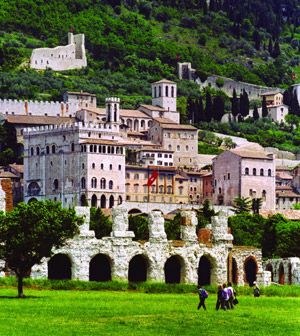 Gubbio, Italy.   This town has an outdoor market that is fabulous. A great day trip from Cortona...if your villa is in the countryside near Cortona you can easily reach Gubbio and other hill towns of Umbria