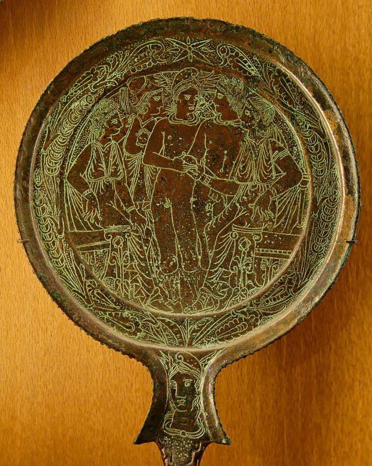 "everyone-484: "" The judgement of Paris on a bronze Etruscan mirror back. """