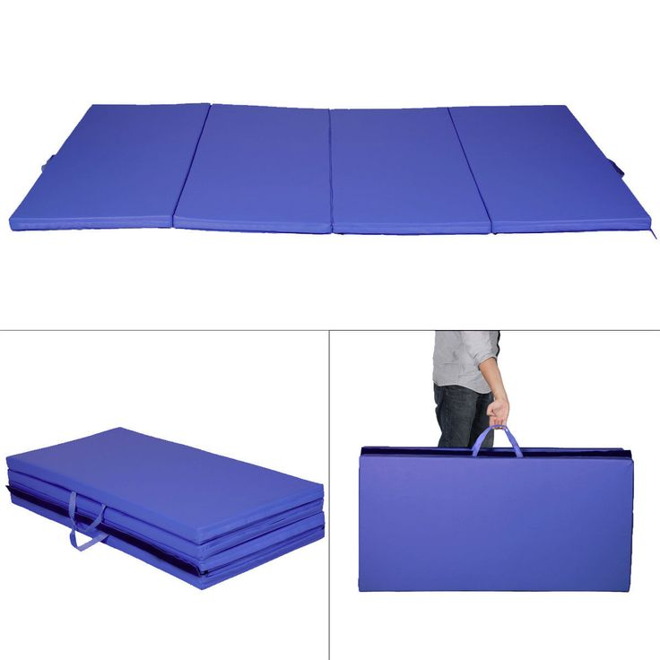 "Durable 4'x8'x2"" Blue Thick Plushed Folding Gymnastics Mat"