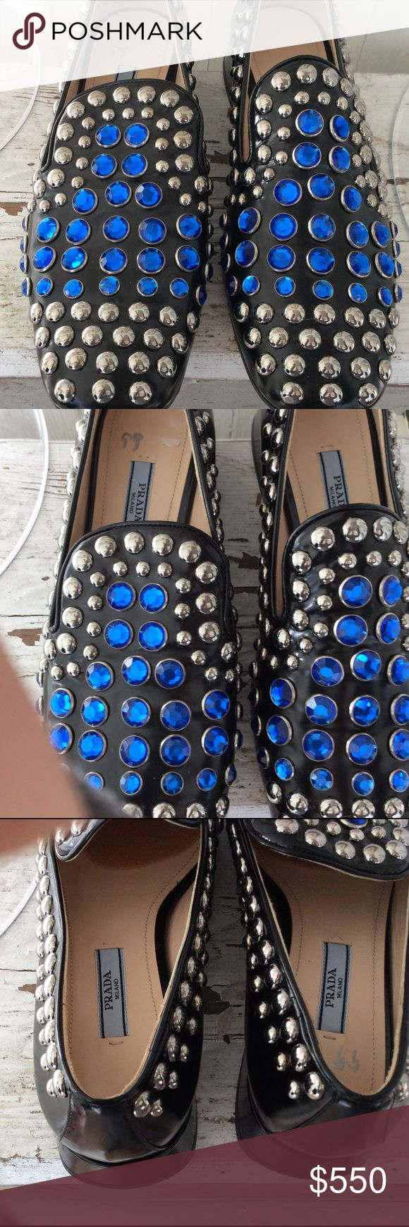 Prada Spazzolato Nero blue studded loafer 37 Guaranteed 100% Authentic Brand: Prada  Style: Studded Leather Loafer Colour: Blue /Silver-tone studs Size: Prada 37 US 7 (Medium Width) Bright studs punctuate a sleek loafer crafted from smooth leather. Leather upper, lining and sole. Made in Italy. Retail $990.00 Sold out everywhere. Barney's New York Prada Shoes Flats & Loafers