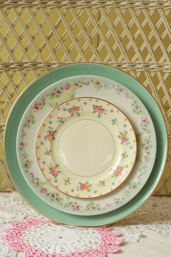 Mismatched China, Wedding Dinnerware, Antique Tableware, China, Cool Morning