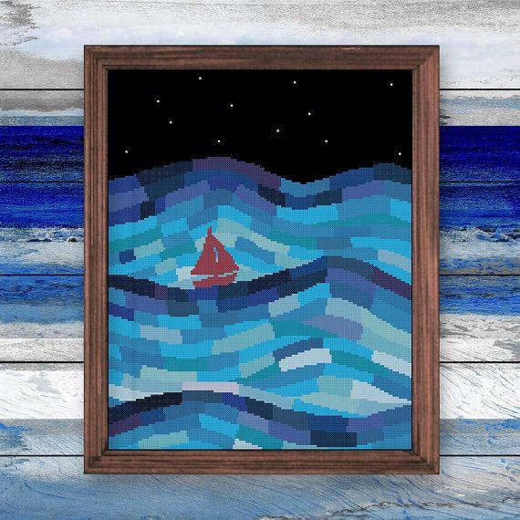 Zeilboot in nacht oceaan cross stitch patroon | Moderne kunst eenzaam boot zee sterrenhemel geteld grafiek | Kinderdagverblijf baby fantasie ontwerp anker kleur