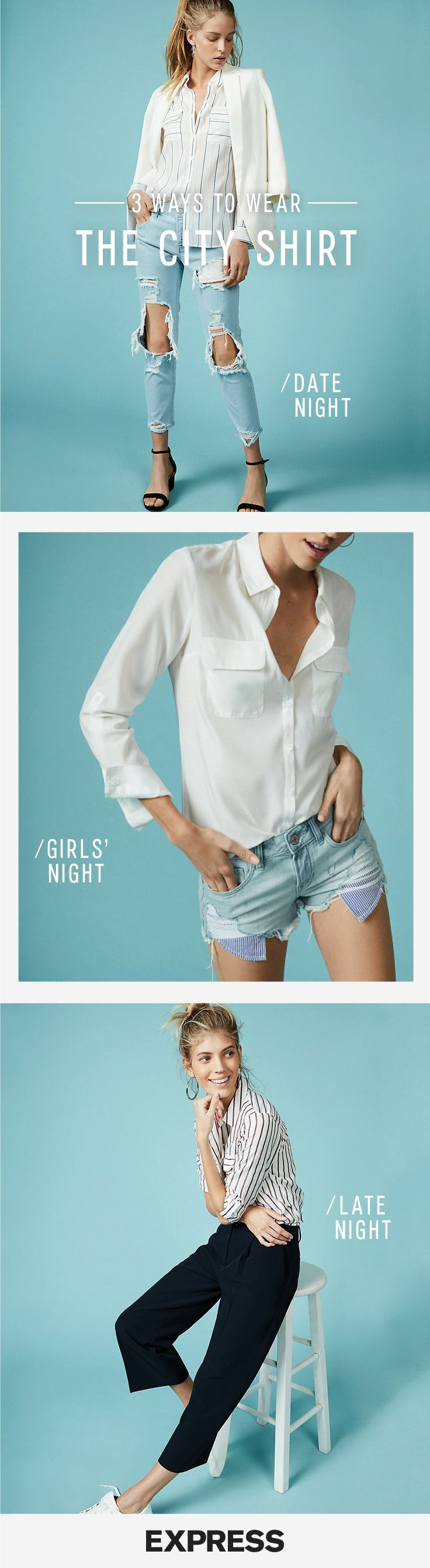 Meet The City Shirt by Express — our softest, most versatile shirt ever. Perfect for date night,  girl's night and late night!