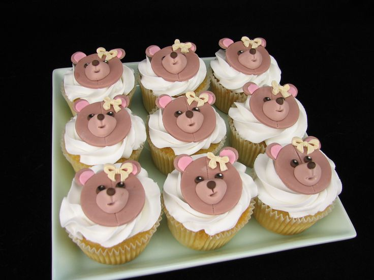 Some of the cute teddy bear cupcakes that went to a birthday party at Build a Bear