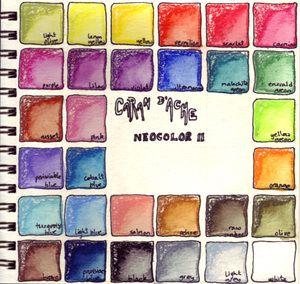 art journal example page: Neocolor Ii, Colors Charts, Watercolor, Idea, Art Journals, Colour Charts, Colors Palettes, D Aches Neocolor, Colors Study