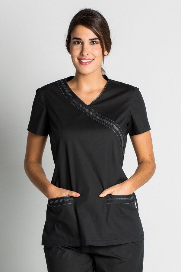 Blouse tunique médicale noire stretch -Casaque médicale Mylookpro