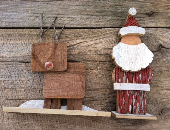 Reclaimed Barn Wood - Wooden Santa Claus and Reindeer (Set of 2) Christmas  Decoration