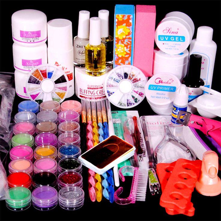 Acrylic Powder Liquid Uv Gel Primer Nail Art Brush Glue File Tips Tool Kit Set