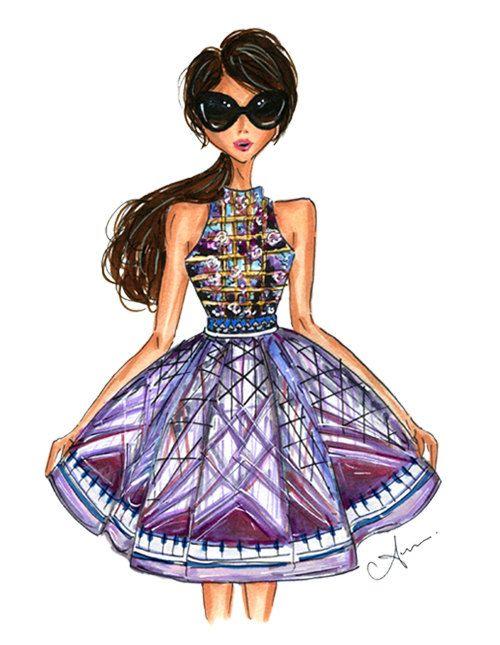 Grabado de la ilustración de moda Mary Katrantzou por anumt en Etsy