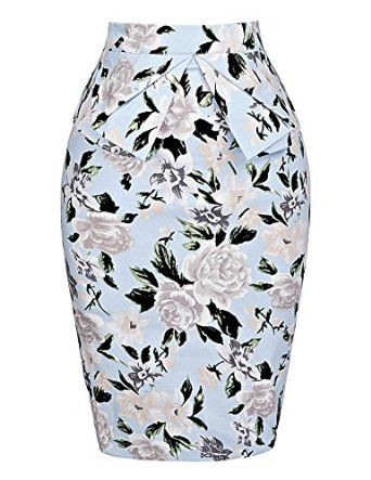 GRACE KARIN® Slim Vintage Pencil Skirts for Women Cotton Floral CL008928 at Amazon Women's Clothing store: