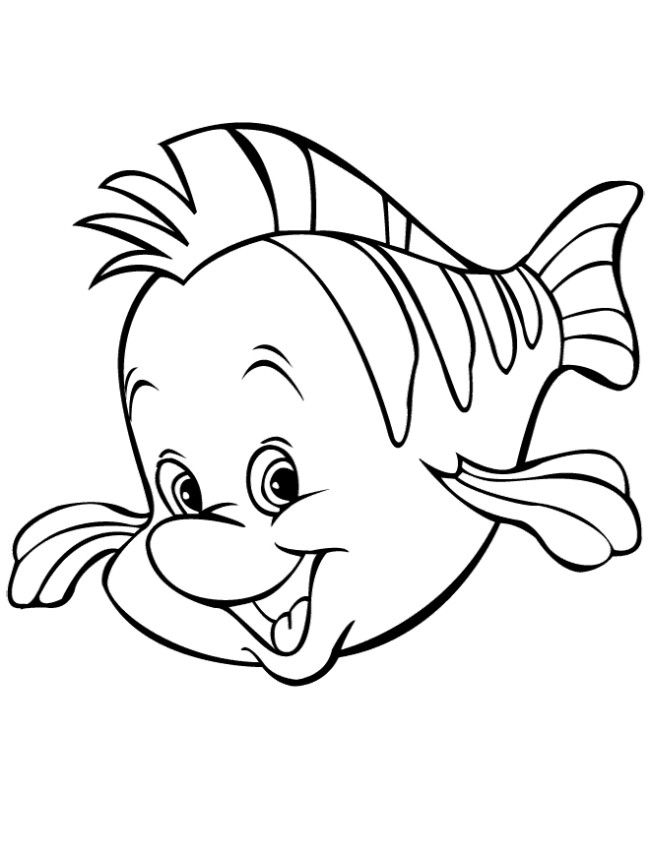Cute cartoon flounder fish coloring page printables for Flounder coloring pages