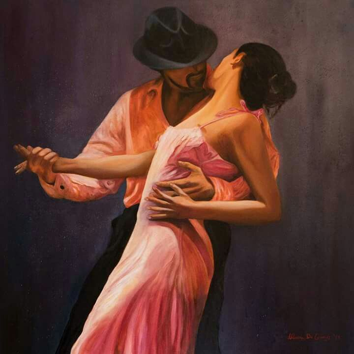 """Passo di tango"" - olio su tela 80x80"
