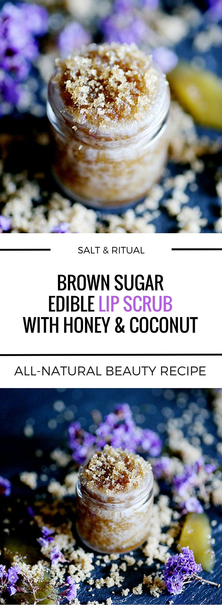 Incredibly sweet edible lip scrub with only three ingredients: brown sugar, coconut oil and raw honey. An all natural lip polish DIY. Tastes like cake batter!
