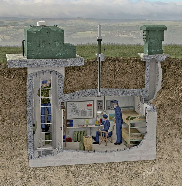 Between 1955 and 1991, more than 1,500 of these underground facilities were located right across the UK, roughly 10 miles apart mainly in remote rural locations. They were of a standard design and constructed of 7 inch thick, steel-reinforced concrete 20 feet beneath the ground: