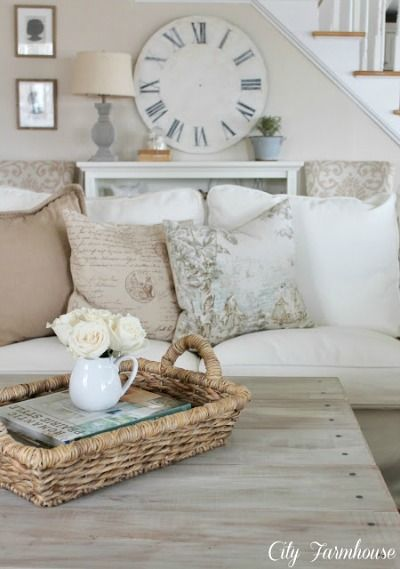 Neutral colour palette, but remove the over the top girl/ French influences.     Beautiful cottage living room (Tweak It Tuesday)