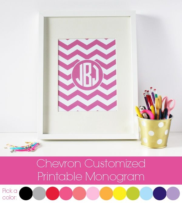 Free customized chevron printable.  Just type in your initials and print off this fabulous print! freebies