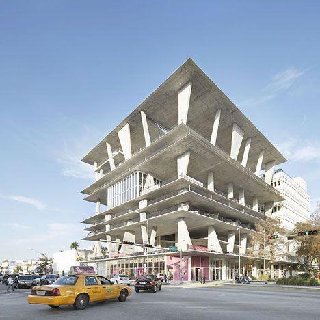 Herzog  de Meuron's 1111 Lincoln Road multi-storey car park in Miami Beach also plays host to parties