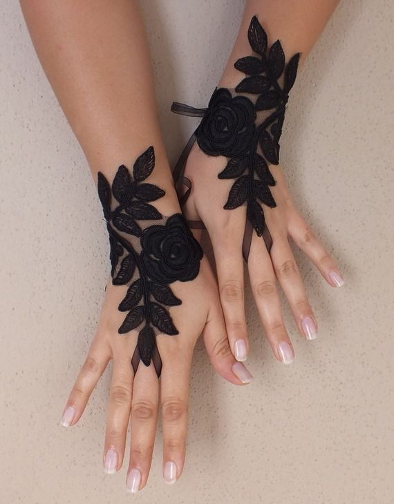 dentelle noir de mariage Paire de gants, gants de dentelle gothique, steampunk…
