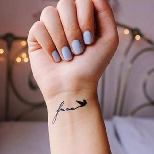 """This set includes 2pcs small """"Free"""" with bird tattooColor: Black Size: 4cm x 1.5cm Each set of temporary tattoo comes with detailed instruction"""
